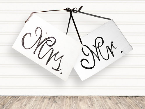 Mr and Mrs Wood Signs