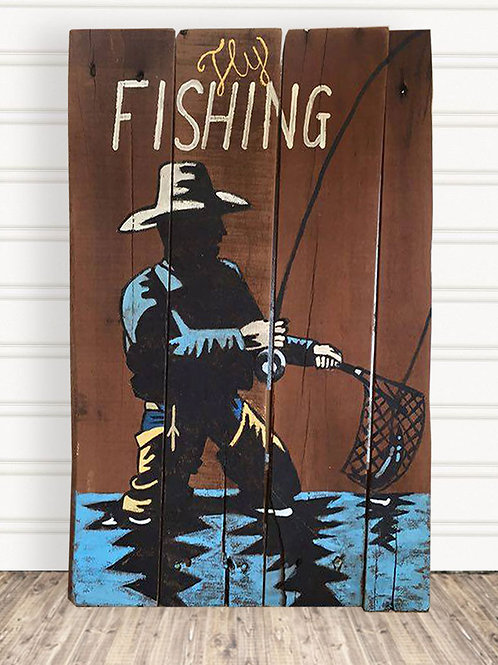 Fly Fishing Man Cave Wood Sign