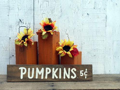 Rustic Wood Pumpkin Set Sunflower Fall Farmhouse Home Decor