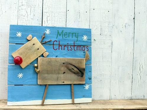 Merry Christmas Rudolph Reindeer Deer Wood Sign