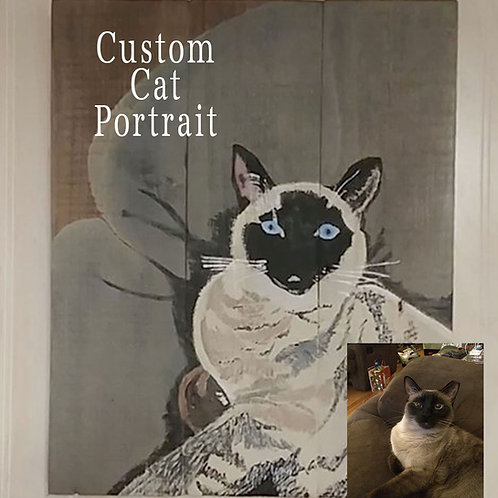 Custom Hand Painted Pet Cat Portrait Wood Sign