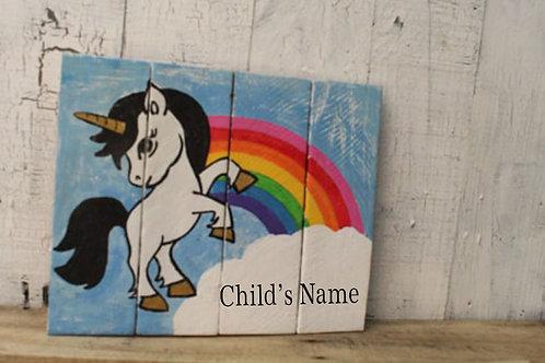 Unicorn Wood Sign