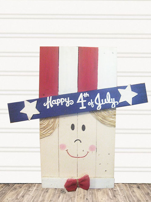 Uncle Sam Happy 4th of July Wood Sign
