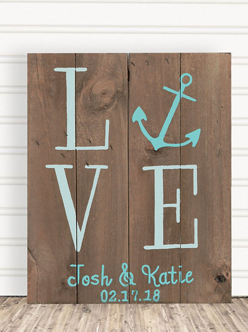 Love Anchor Pallet Wood Sign