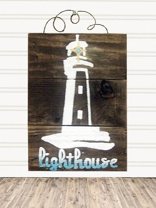 Lighthouse Wood Sign