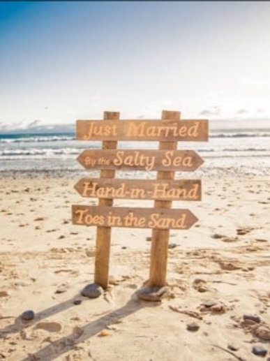 Just Married By The Salty Sea Hand In Hand Toes In The Sand Wood Sign