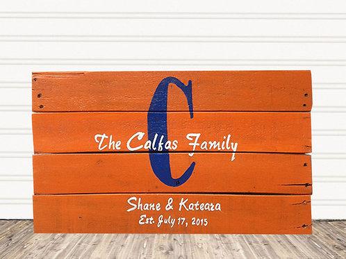 Family Established Monogram Sports Fan Wood Sign
