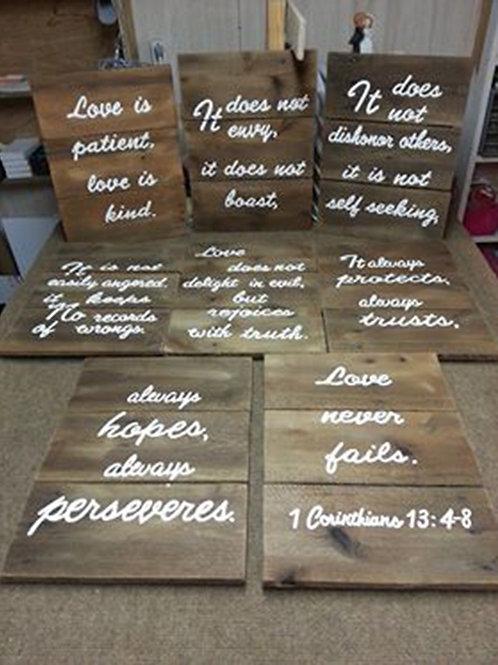 Love is Patient 1 Corinthians 13:4-8 Set Of 8 Wood Signs