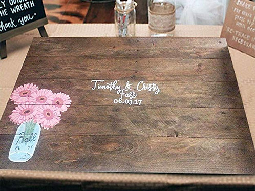 Pink Daisy In Mason Jar Wedding Guest Book Alternative Wood Sign