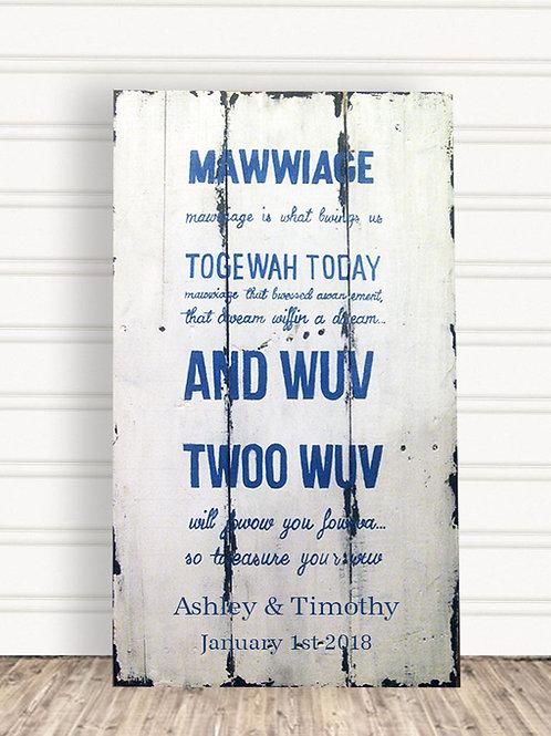 Mawwiage Wood Sign