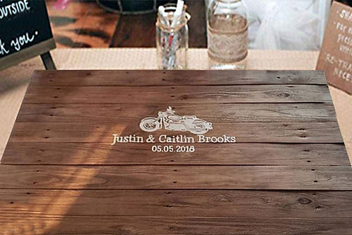 Motorcycle Wedding Guest Book Alternative Wood Sign