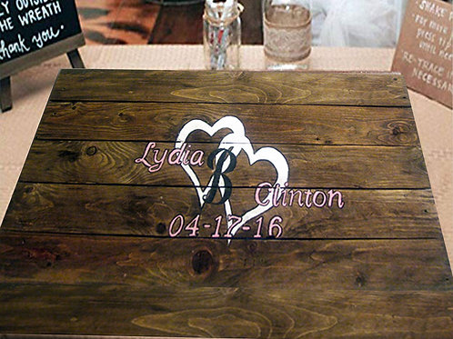 Two Hearts Wedding Guest Book Alternative Wood Sign