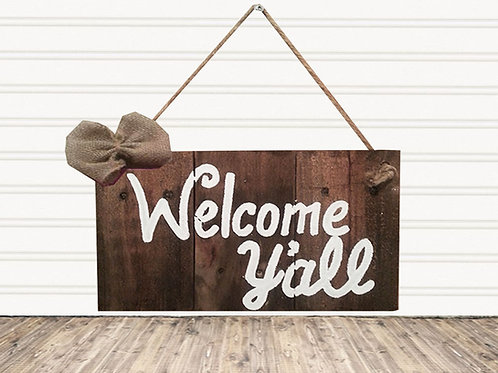 Welcome Y'all Wood Sign
