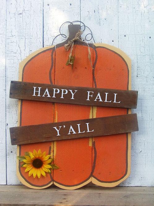 Happy Fall Y'all Pumpkin Wood Sign
