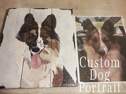 Custom Hand Painted Pet Dog Portrait Wood Signs