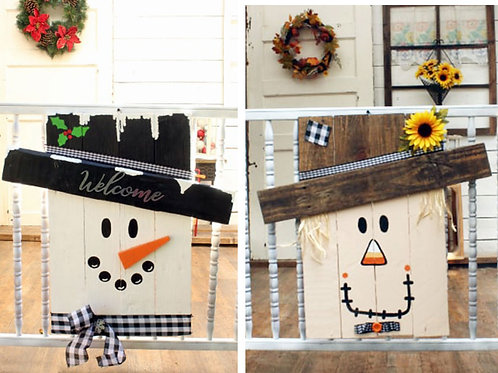 Merry Christmas 2 Sided Snowman Scarecrow Wood Sign