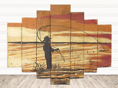 Fly Fishing at Sun Set Wood Sign