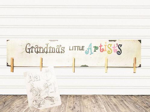 Grandma's Little Artist Wood Sign