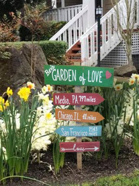 Grandma's Garden of Love Directional Wood Sign