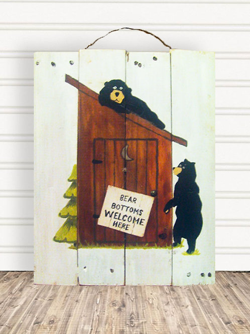 Bear Bottoms Welcome Here Wood Sign