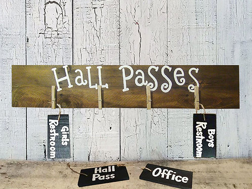 Classroom Hall Passes With Four Passes  Wood Sign