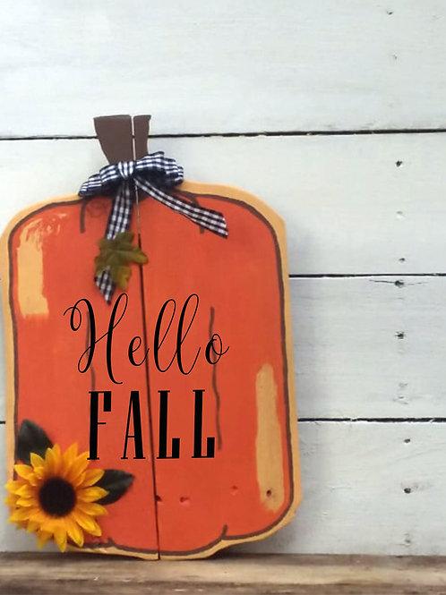 Hello Fall Pumpkin Wood Signs