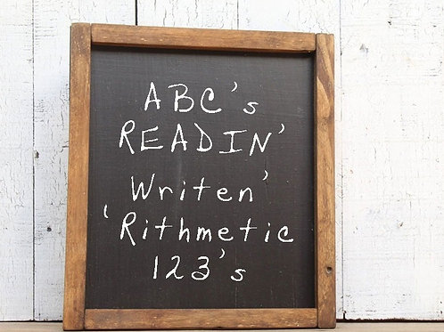 ABC Readin Writen Rithmetic 123's Wood Classroom Sign