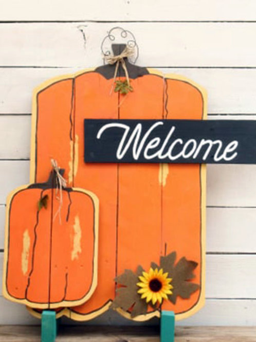 Welcome Pumpkins Wood Porch Sign