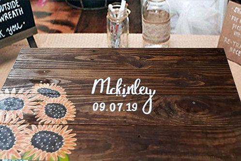 Rustic Sunflower Wedding Guest Book Alternative Wood Sign