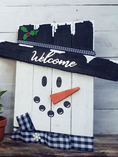 Rustic Christmas Snowman Wood Sign