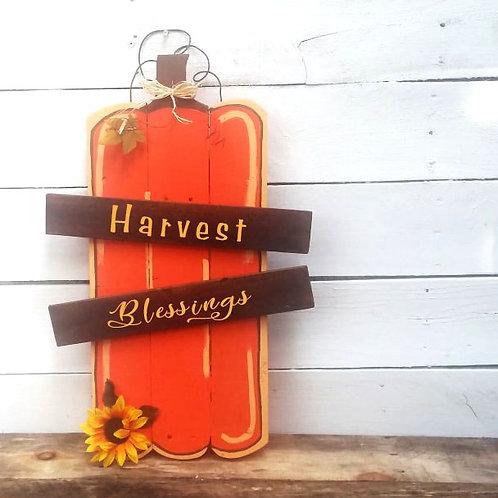 Harvest Blessings Pumpkin Wood Signs