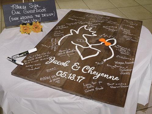 Buck And Doe Deer Rustic Wedding Guest Book Alternative Wooden Sign