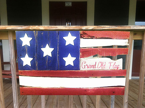 Grand Old Flag Wood Sign