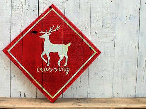 Reindeer Crossing Wood Sign