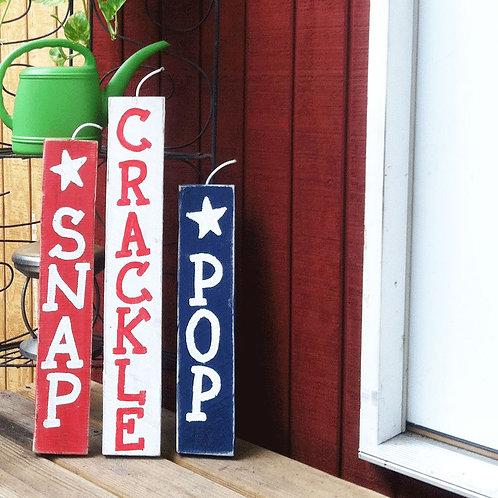 Snap Crackle Pop Fireworks Wood Sign