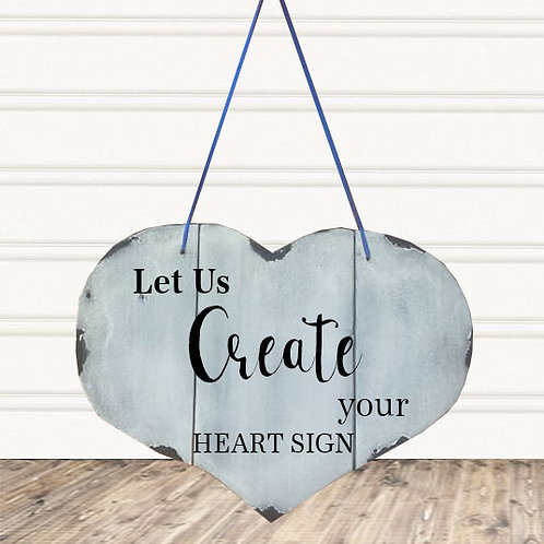 Custom Heart Shaped Wood Sign