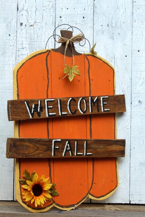 Welcome Fall Pumpkin Wood Sign