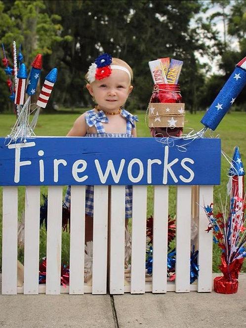 Fireworks Wood Sign