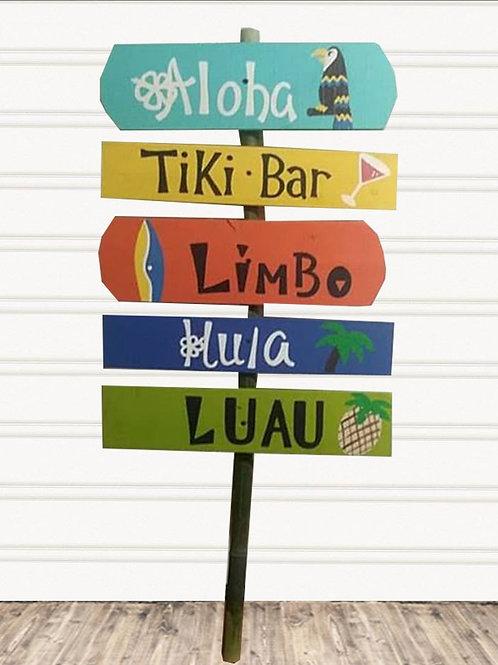 Luau Directional Wood Sign