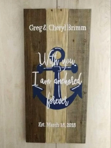 With you I am Anchored Forever Wedding Guest Book Alternative Wood Sign