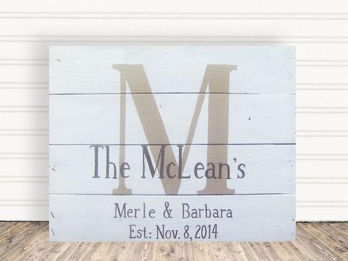 Family Established Monogram White Wood Sign