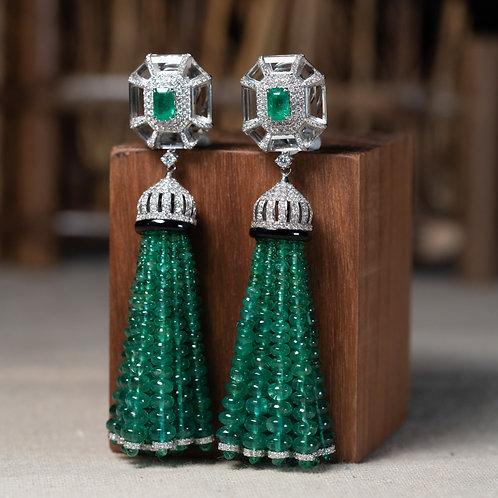 Emerald Tassel Earrings 89ct
