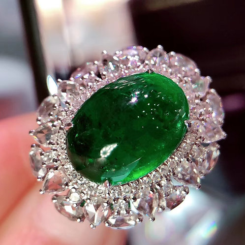Vivid Green Emerald Ring 8.12ct