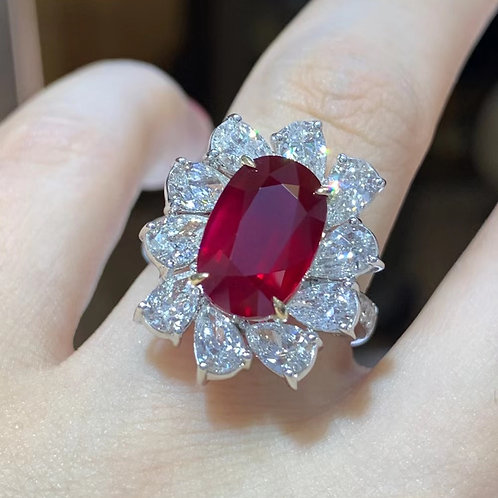 Mozambique Unheated Vivid Red Ruby Ring 5.03ct