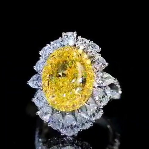 GIA Fancy Intense Yellow Diamond Ring 3.03ct