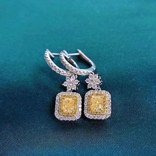 Cushion Cut Yellow Diamond Earrings 0.43ct