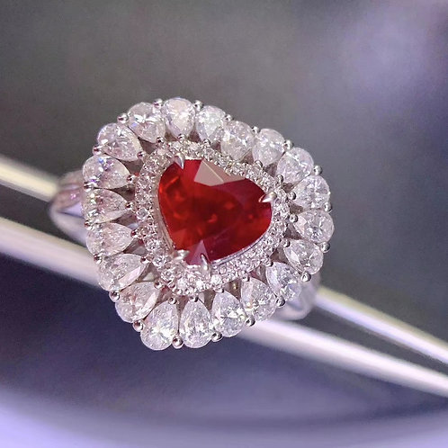 Unheated Pigeon Blood Ruby Ring 1.35ct