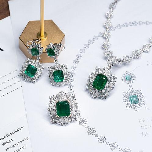 祖母綠首飾套組設計鑲嵌