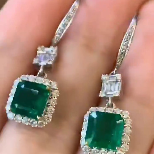 Cushion Cut Emerald Earrings 2.8ct