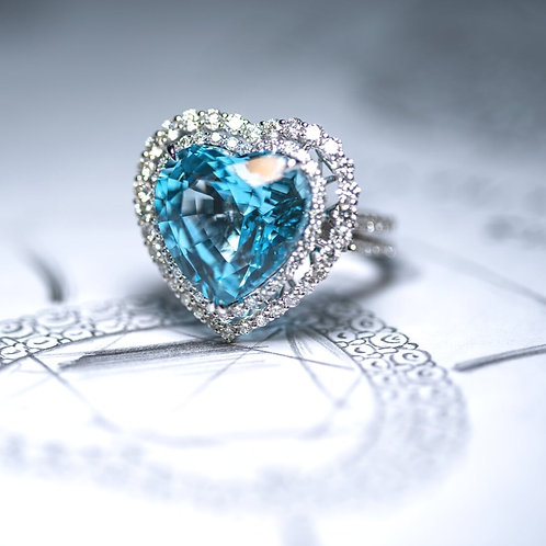 Heart Shaped Natural Topaz Ring 17.33ct